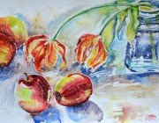 Tulips and apples still life. Watercolour. 2014