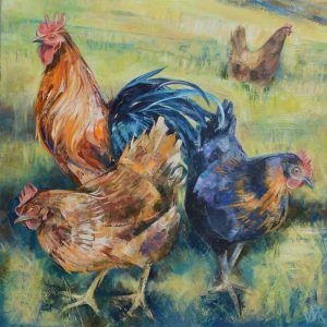 Three Hens. Limited edition print.