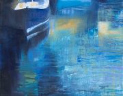 Blue Boats, East Neuk. Acrylic on canvas, 35 x 45 cm