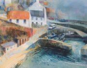 Crail Harbour, Haar. Acrylic on canvas, 64 x 64 cm