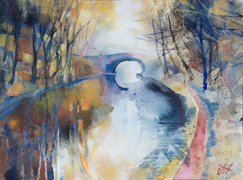 Autumn, Lancaster Canal. Watercolour