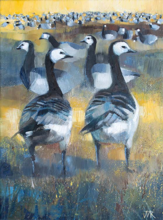 Barnacle Geese, Solway Firth. Oil on canvas, 30 x 40 cm.