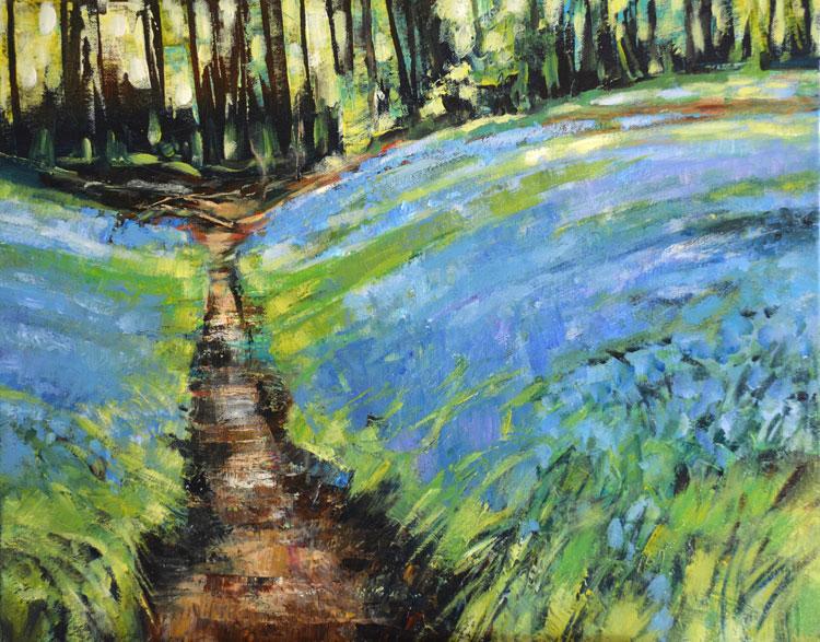 Bluebells at Scorton Woods. Acrylic on canvas. 2014
