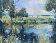 Bowland Fells from the Lancaster canal near Garstang. Acrylic on paper. 42 x 27 cm