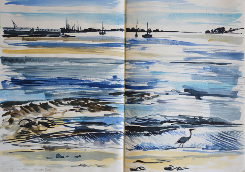Heron, Glasson Dock. Watercolour sketch.