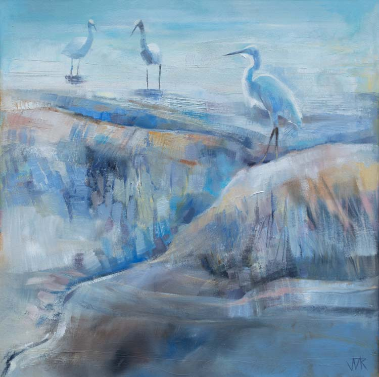 Little Egret, Lune Estuary. Oil on canvas, 50 x 50 cm