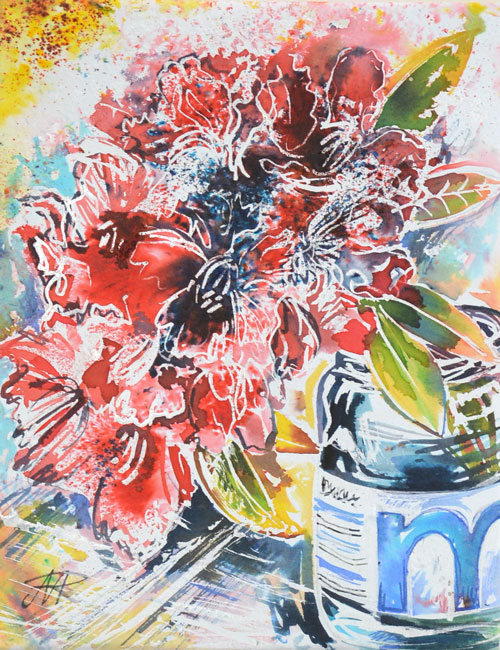 Rhododendron in Booths Mayonnaise Jar. Brusho Inks on paper. 2014