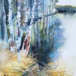 Silver Birch, Uath Lochans. Watercolour, 34 x 54 cm