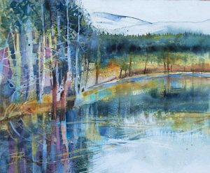 Uath Lochans, Glenfeshie. Watercolour, 32 x 27 cm.