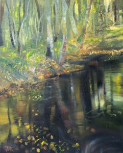 Woodland Pool. Oil on canvas, 40 x 50 cm