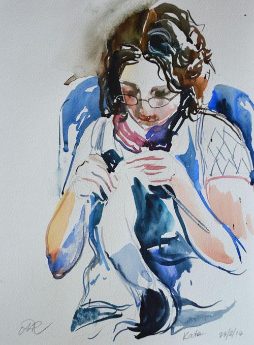 'Kate knitting'. Watercolour.