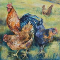 Three Hens. Oil on box canvas