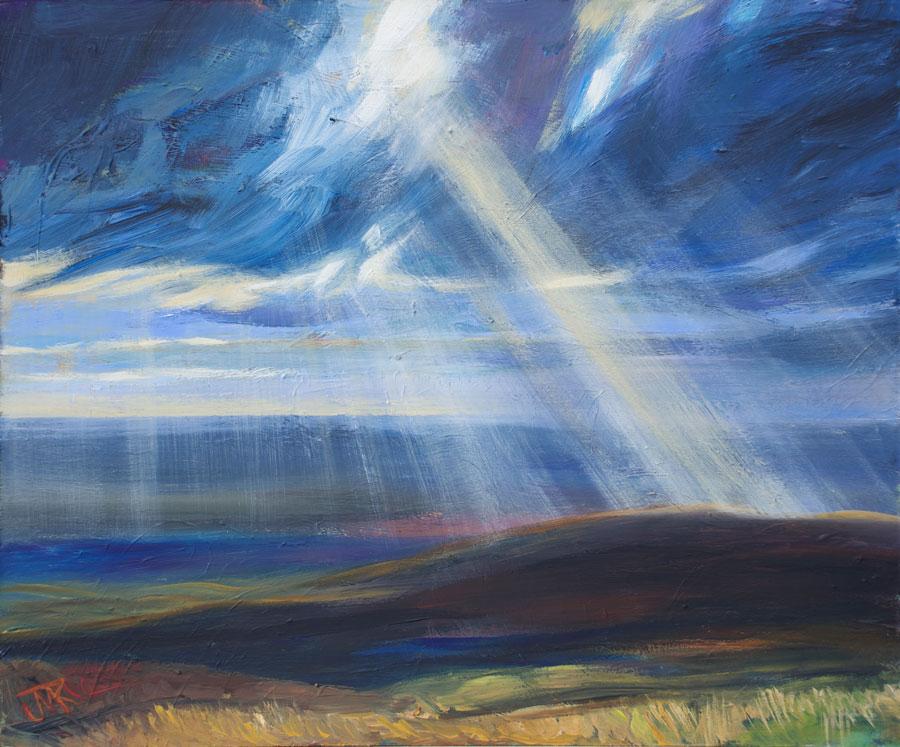 'Autumn Sky over Wyresdale' Acrylic on board, 40 x 30 cm