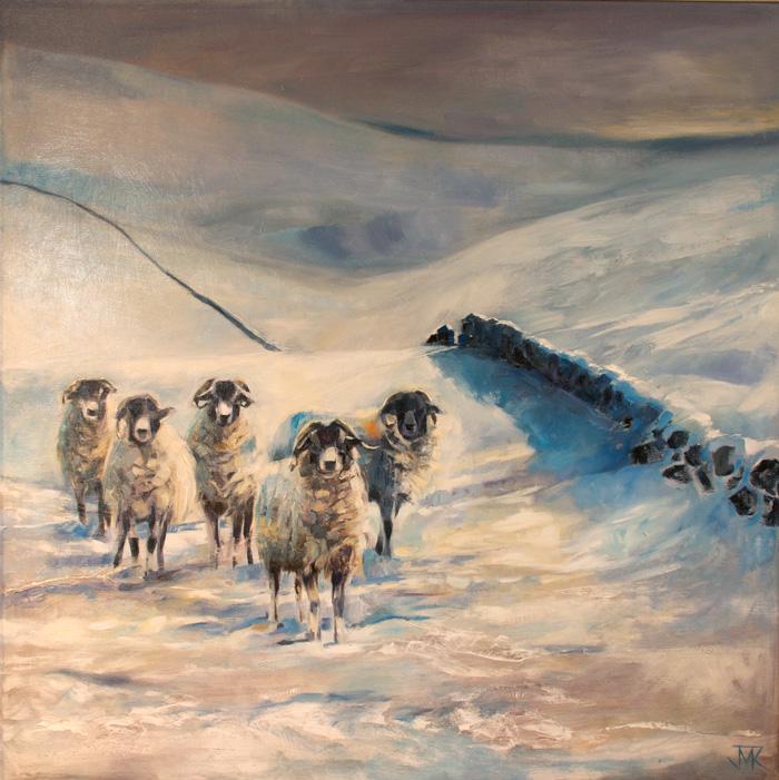 'Sheep, Hawthornthwaite Fell', Oil on board 89 x 89 cm