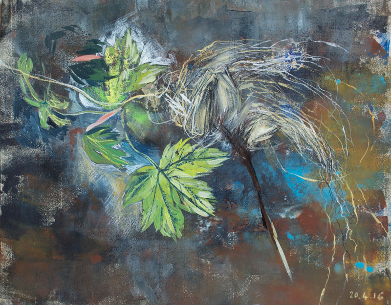 New leaves of Sycamore with Flood Grass, mixed media