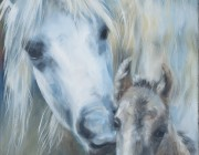 'Highland Mare and Foal'. Oil on linen.