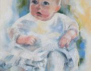 Oil portrait of a baby