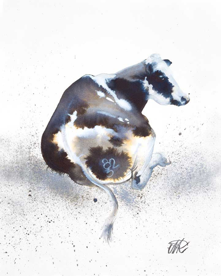 'Cow-823', Ink and watercolour.