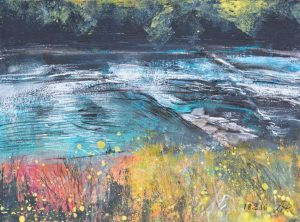 August Afternoon, Lune Rapids. Mixed media, 40 x 30 cm