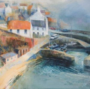 Crail Harbour, Haar. Acrylic on canvas, 64 x 64 cm
