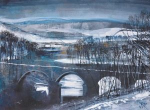 Crook o' Lune, March. Mixed media, 40 x 30 cm