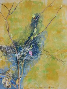 Flowering Currant & Flood Grass. Mixed media. 30 x 40 cm.