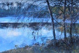 Halton Weir, November. Mixed media. 40 x 30 cm