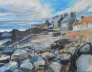 'Houses at Cellardyke' Acrylic on canvas, 39 x 28 cm