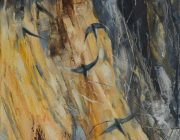 Sand Martins, River Lune. Oil on canvas, 30 x 40 cm.