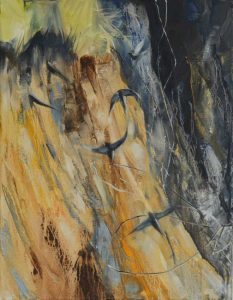 Sand Martins, River Lune. Oil on canvas, 30 x 40 cm.