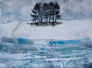 Trees Near Crook o' Lune. Mixed media. 30 x 20 cm.