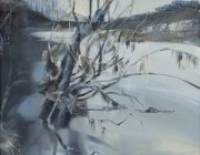 Willow Tree, River Lune. Oil on canvas, 30 x 60 cm