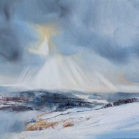 Winter light over Windermere, oil painting