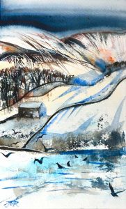 Winters Day, Howgills, Watercolour, 18 x 31 cm