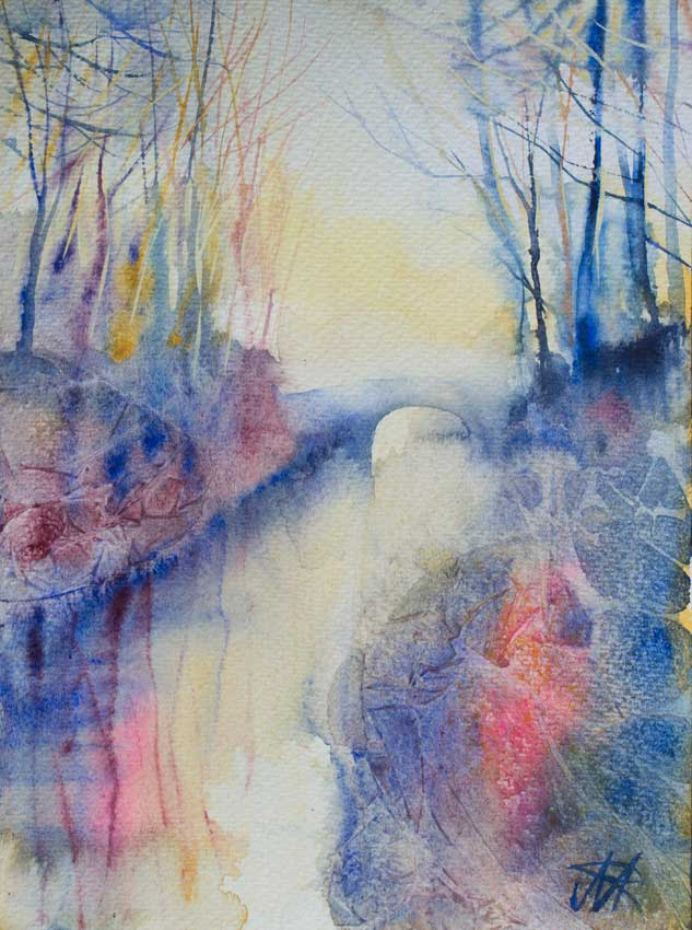 Misty Winter Morning, Lancaster Canal. Watercolour