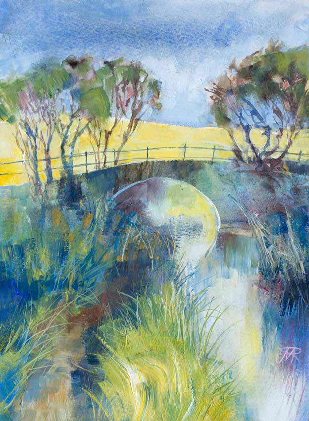 Canal in spring, near Glasson Dock. Mixed media
