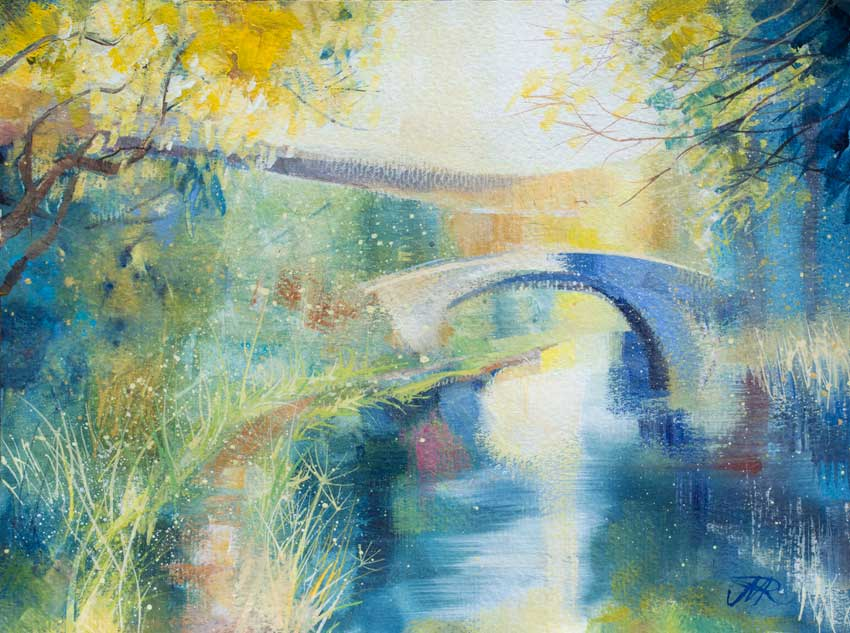 Summertime, Lancaster Canal. Mixed media