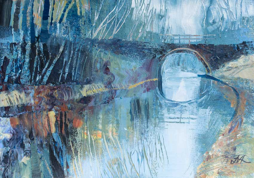 Winter Canal, near Lancaster. Mixed media.