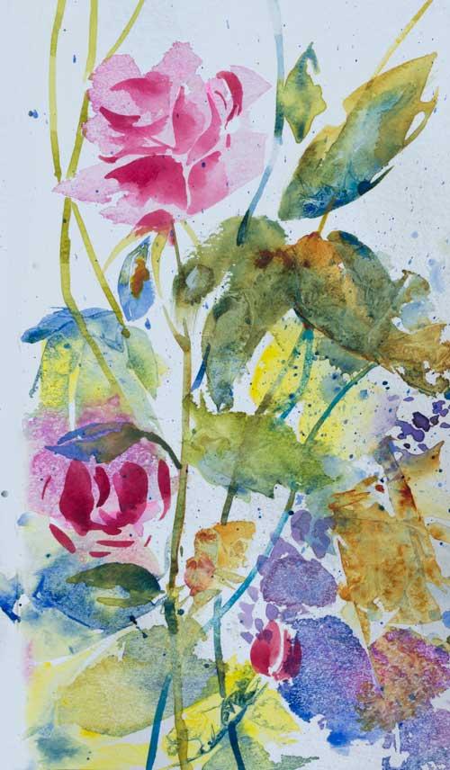 'June Garden', watercolour