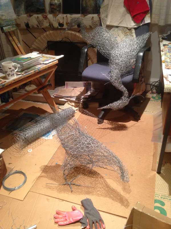 Headless chicken: sculpture in progress