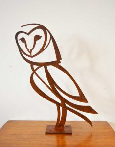 Barn Owl sculpture, 5 mm steel, 36 x 41 cm.