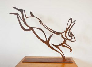 Hare sculpture, 5 mm steel, 57 x 46 cm.