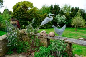 'Heron' and 'Hen' wire sculptures