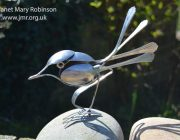 'Spoonbill 3' Up-cycled cutlery bird sculpture