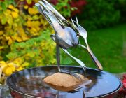 Wader bird sculpture in bird bath