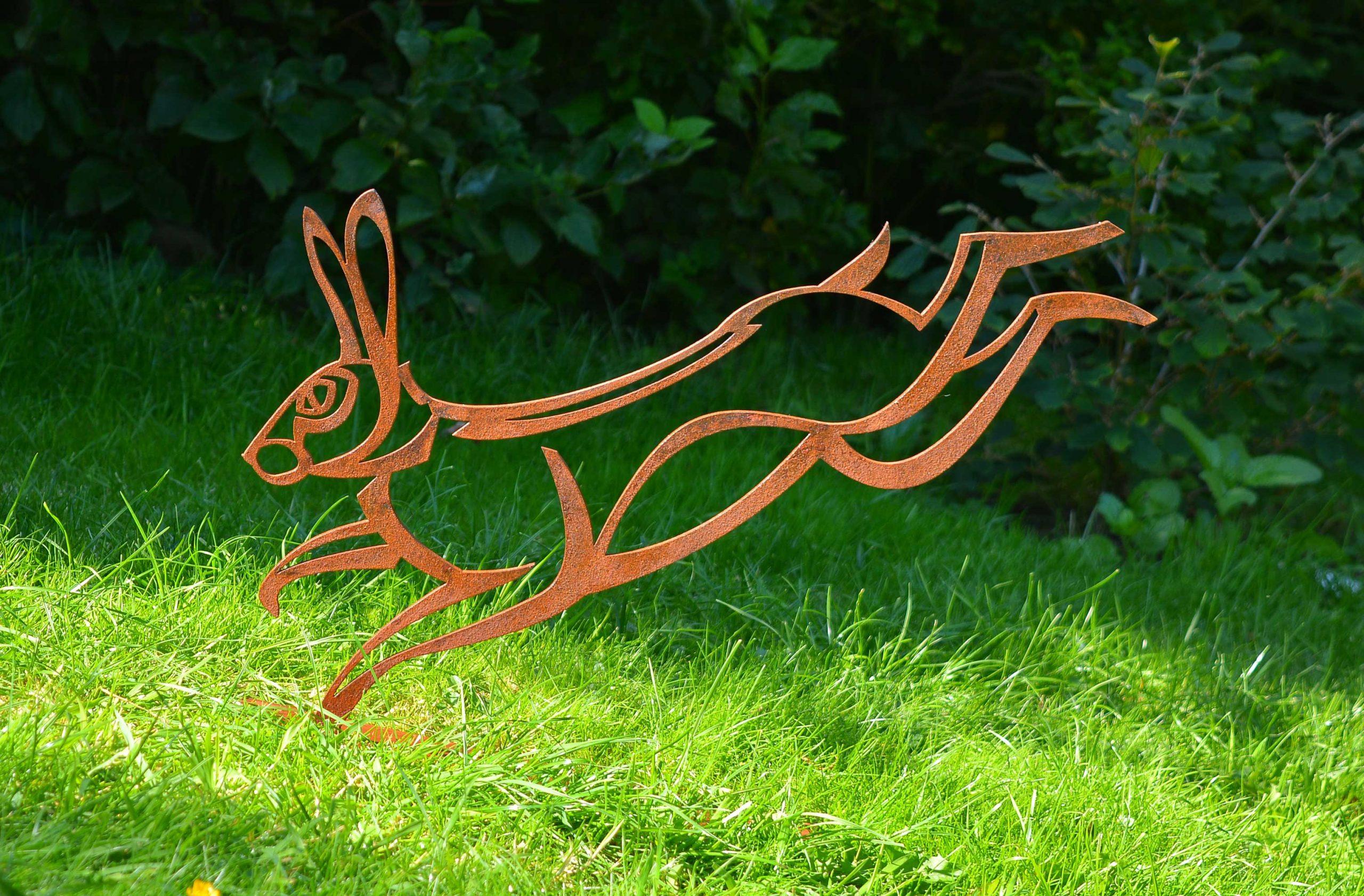 steel hare sculpture