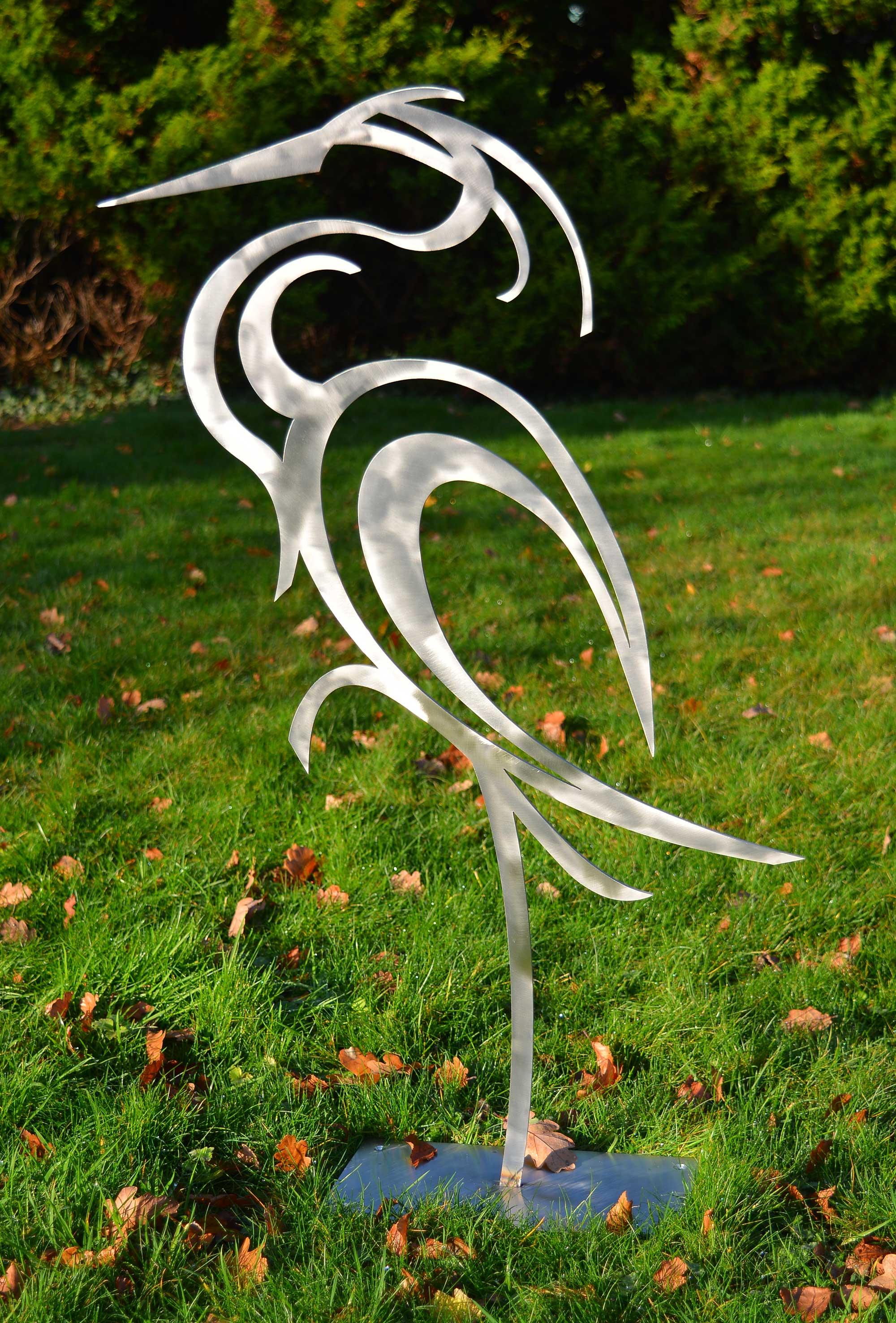 Stainless steel heron sculpture